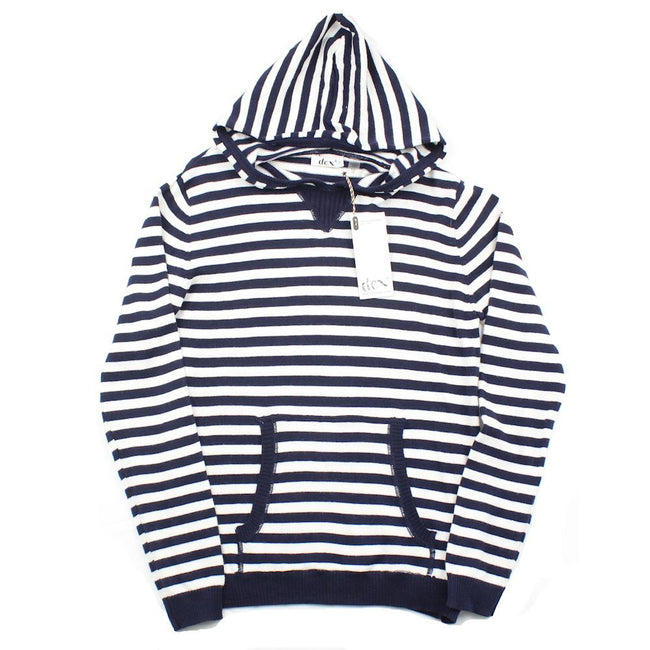DEX KIDS Big Girl Blue White Striped Hooded Pullover Sweater.