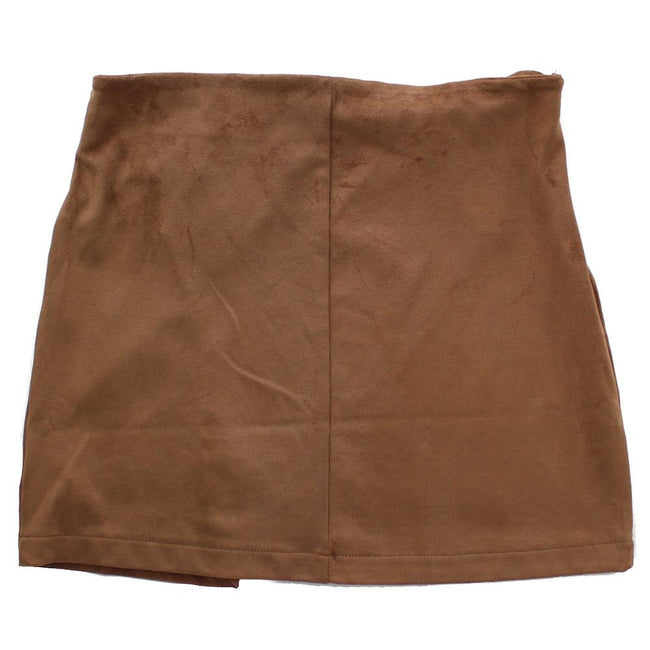 DEX KIDS Big Girl Brown Faux Suede Short Skirt Back