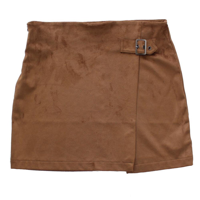 DEX KIDS Big Girl Brown Faux Suede Short Skirt Front