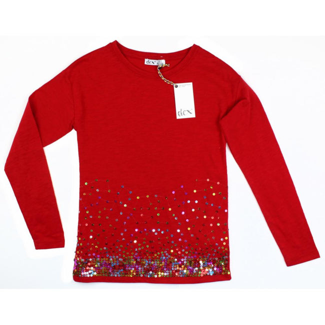 DEX KIDS Big Girl Preteen Girls Cherry Red Long Sleeve Top