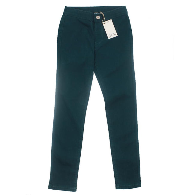 DEX KIDS Big Girl Dark Teal Stretch Jeggings Front