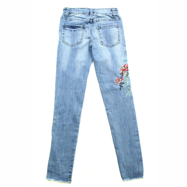 DEX KIDS Big Girl Denim Jeans with Floral Embroidery Back