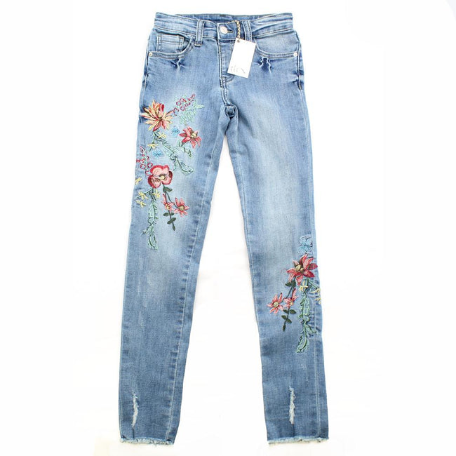 DEX KIDS Big Girl Denim Jeans with Floral Embroidery Front