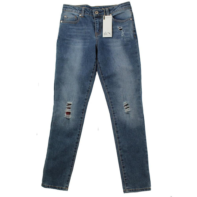 DEX KIDS Big Girl Distressed Patched Denim Jeans Front