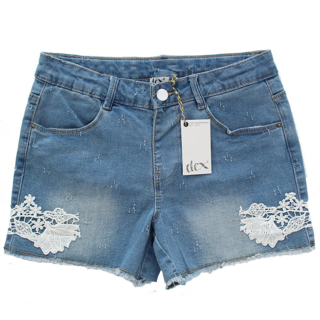 DEX KIDS Big Girl Lace Detail Jean Shorts Front