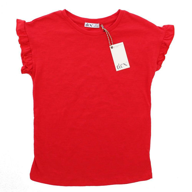 DEX KIDS Big Girl Red Ruffle Cuff Short Sleeve Tee Shirt Front
