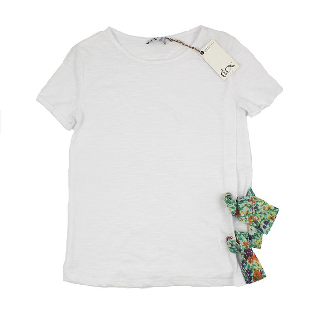 DEX KIDS Big Girl White T-Shirt with Side Floral Print Ties