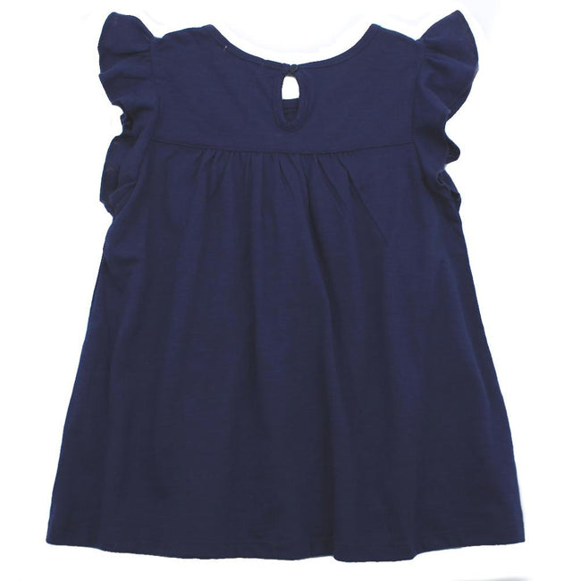 DEX Little Girls Navy Sleeveless Lace Detail Top Back