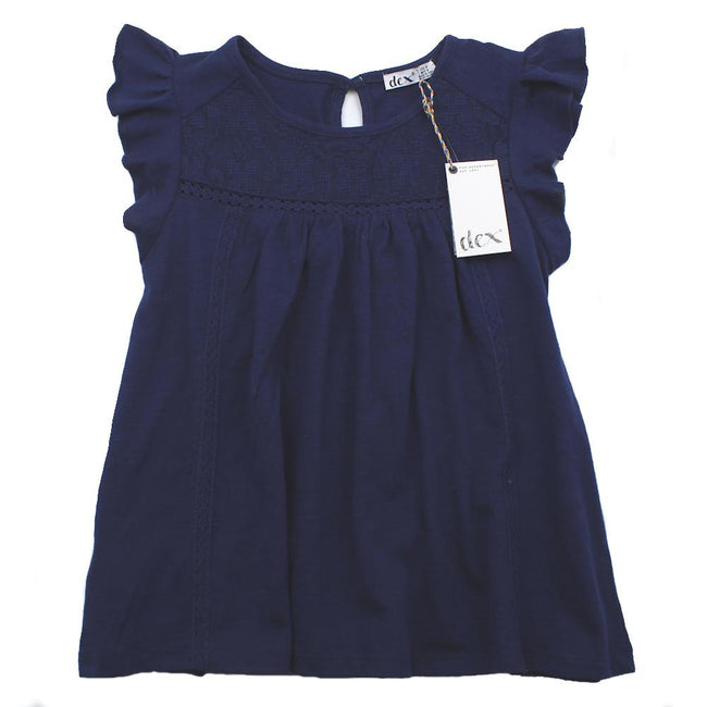 DEX KIDS Navy Little Girls Sleeveless Lace Detail Top Front