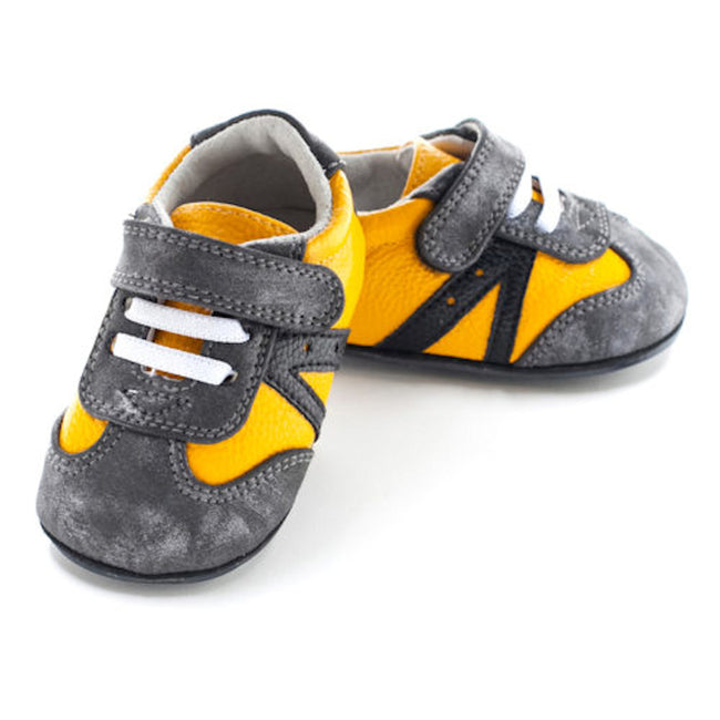 Jack & Lily Baby Boy Moccasin Shoes Mustard Yellow Grey