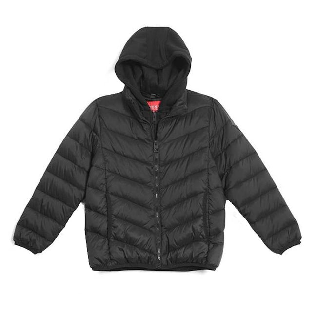 GUESS KIDSWEAR Big Boy Quilted Black Puffer Jacket