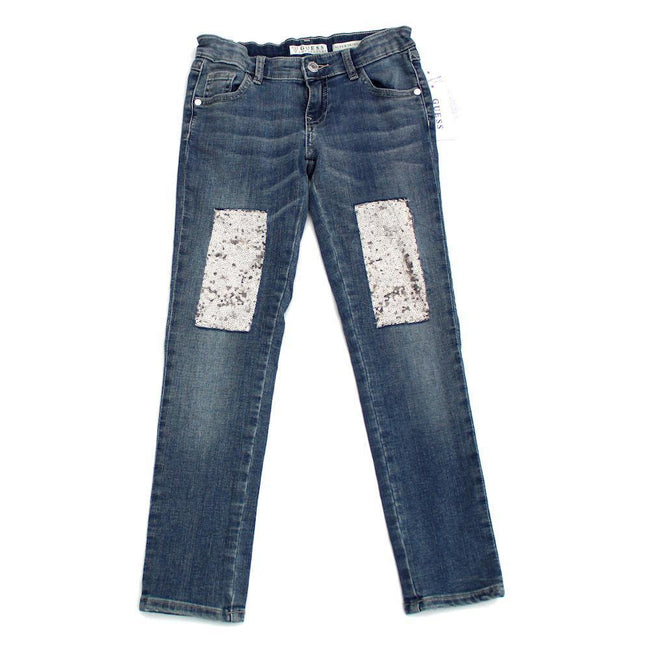 GUESS KIDSWEAR Big Girl Glitter Sequin Patch Jeans