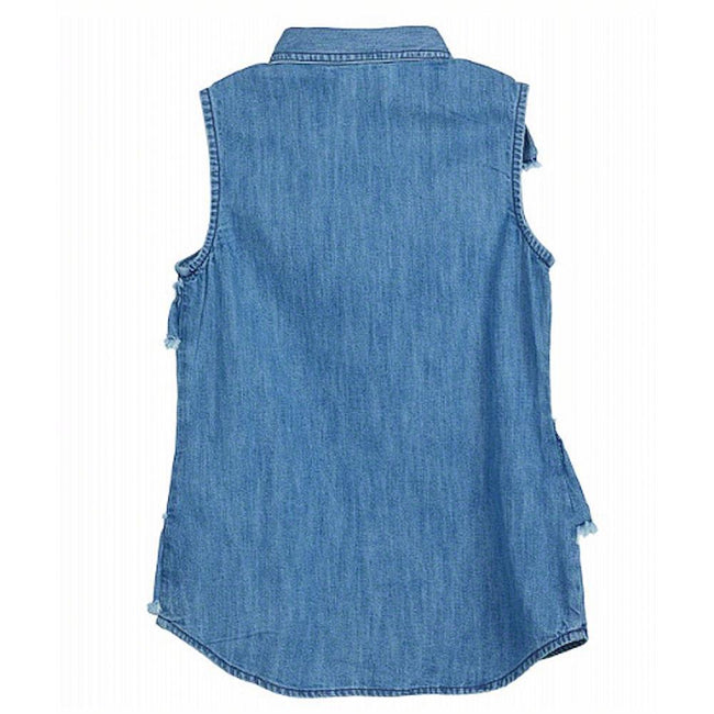 GUESS KIDSWEAR Preteen Girl Sleeveless Denim Shirt