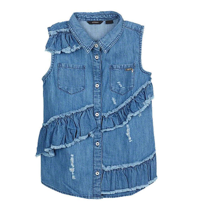 GUESS KIDSWEAR Big Girl Sleeveless Denim Shirt