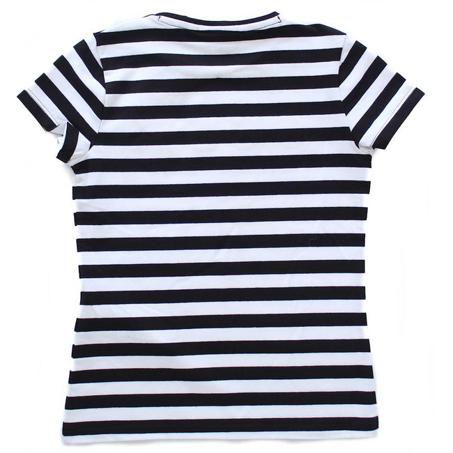 GUESS KIDSWEAR Preteen Girl Black and White Striped Tee Shirt