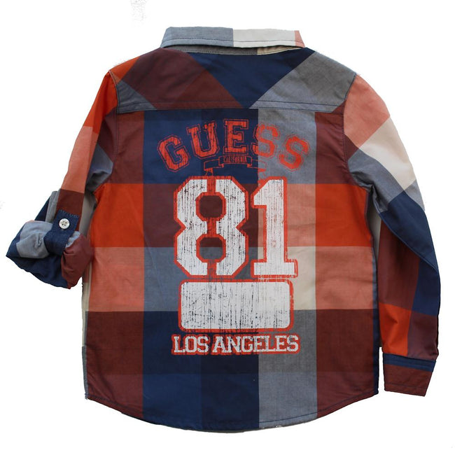 GUESS KIDSWEAR Little Boy Orange Blue Plaid Long Sleeve Shirt Back