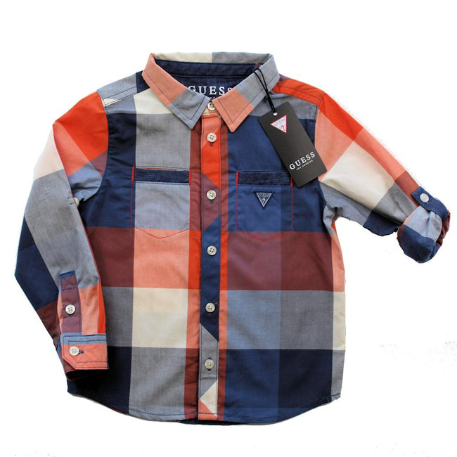 GUESS KIDSWEAR Little Boy Orange Blue Plaid Long Sleeve Shirt