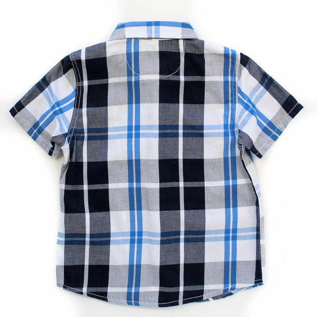 GUESS KIDSWEAR Little Boy Plaid Short Sleeve Shirt Back