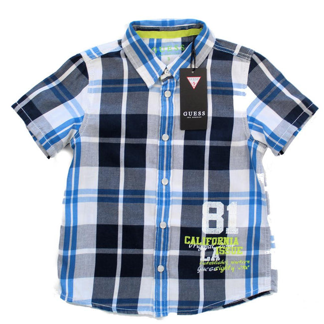 GUESS KIDSWEAR Little Boy Plaid Short Sleeve Shirt