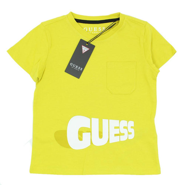 GUESS KIDSWEAR Little Boy Yellow Short Sleeve Tee Shirt Front