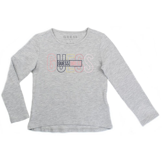GUESS KIDSWEAR Little Girl Grey Long Sleeve Tee Shirt