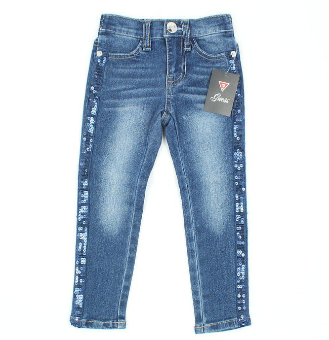 GUESS KIDSWEAR Little Girl Jeans with Side Sequin Detail
