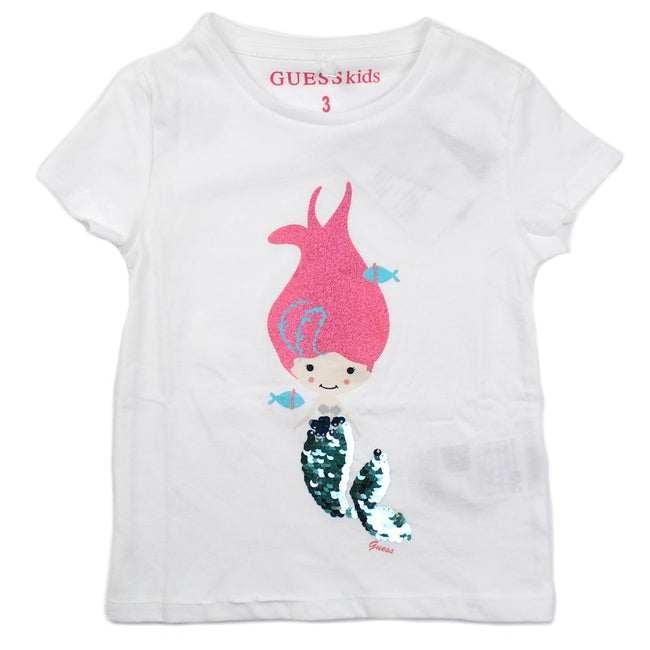 GUESS KIDSWEAR Little Girl Mermaid Sequin Short Sleeve Tee Shirt