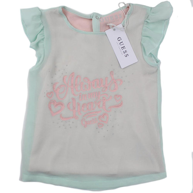 GUESS KIDSWEAR Little Girl Mint Green Chiffon  Tee Shirt