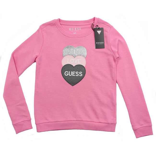 Guess KIDSWEAR Little Girl Pink Sweatshirt Hearts Glitter