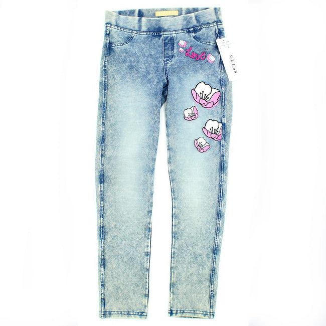 GUESS KIDSWEAR Little Girl Stretch Pull On Flowered Jeans