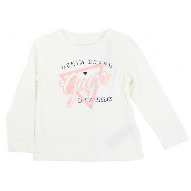 GUESS KIDSWEAR Little Girls Ivory/Pink Long Seeve Top