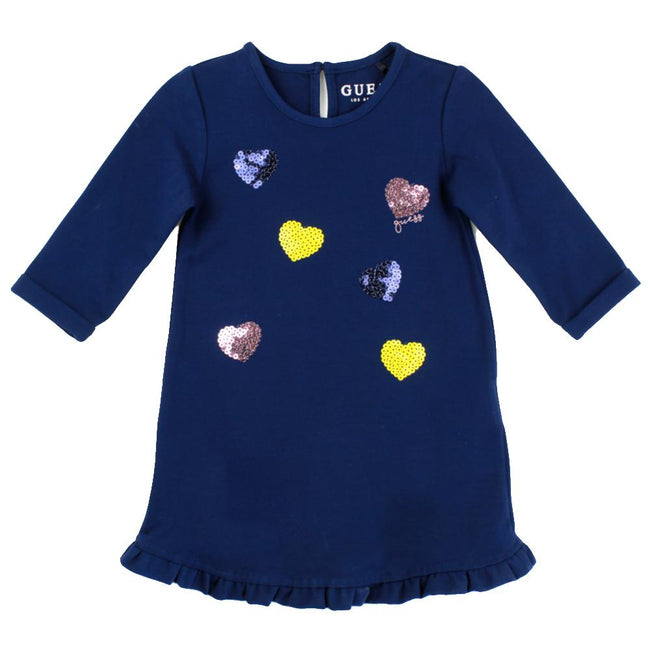 GUESS KIDSWEAR Little Girls Navy Jersey Dress