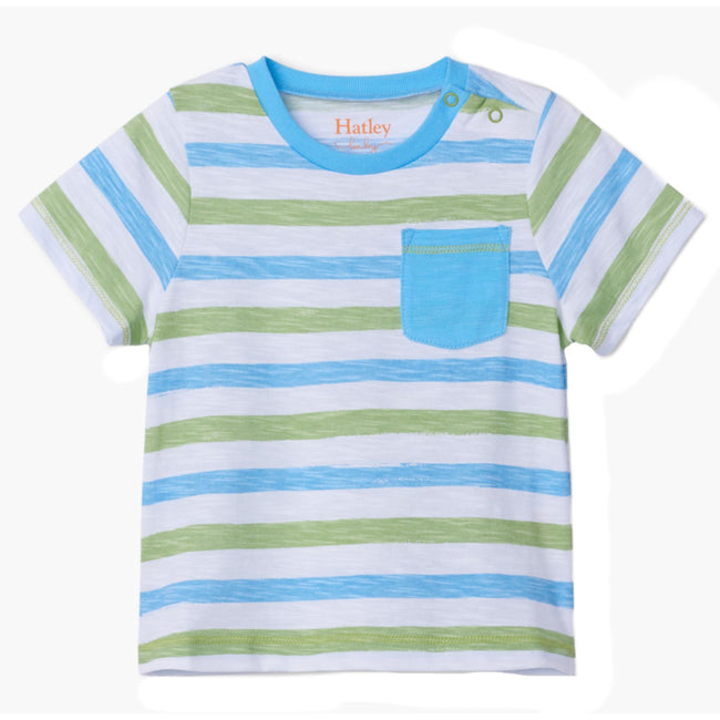 Hatley Little Boys White Tee Green and Blue Horizontal Stripes Front