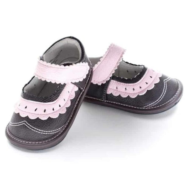 Jack & Lily Girls My Shoes Brown Pink Mary Janes