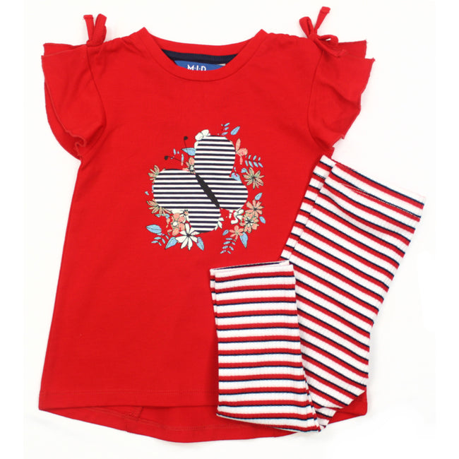 MID Baby Girl Red Tunic Top with Striped Leggings