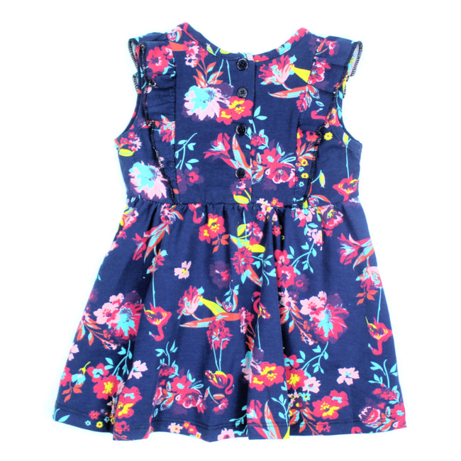 mid baby girl neon flowers and flamingo dress back
