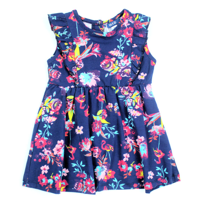 mid baby girl neon flowers and flamingo dress front