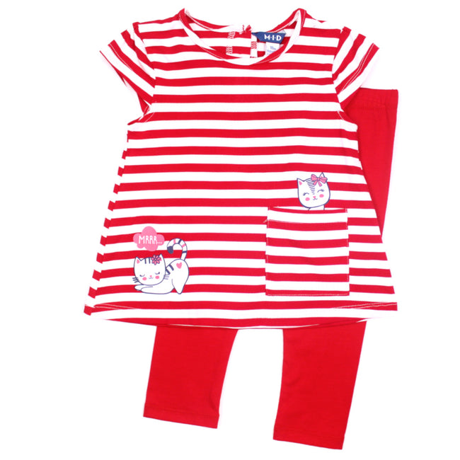mid baby girl red stripe tunic kitty top with red leggings