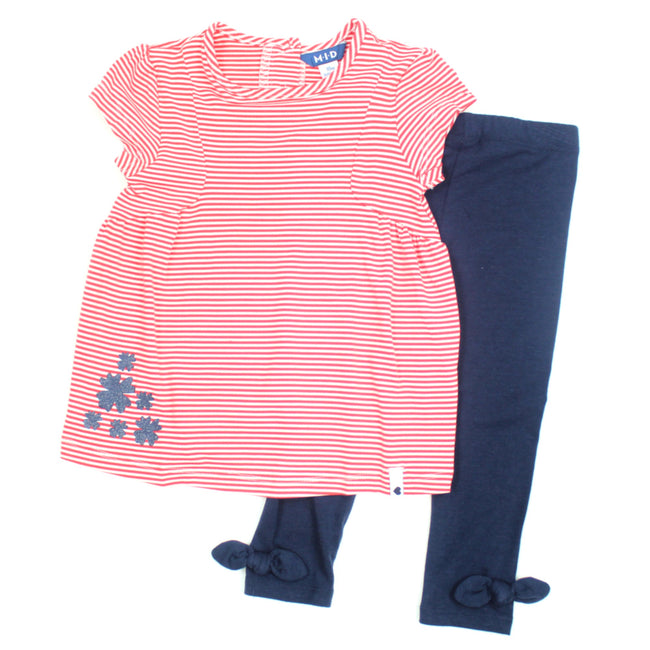 mid baby girl striped tunic navy leggings with side bow