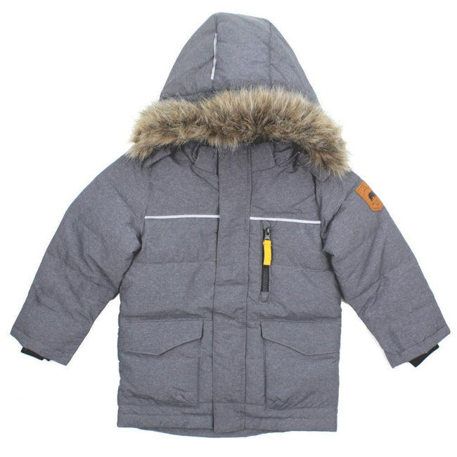 NAME IT Baby and Little Boys Down Filled Grey Winter Coat Faux Fur