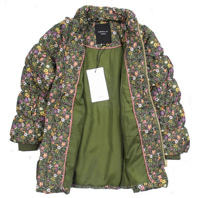 NAME IT Floral Baby and Little Girls Downed Filled Winter Jacket Inside