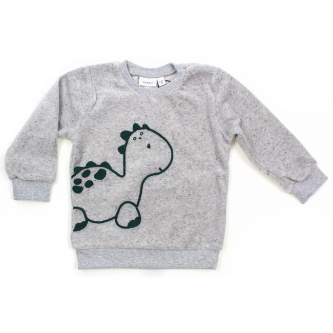 NAME IT Baby Girl or Boy Grey Fleck Dino Sweater
