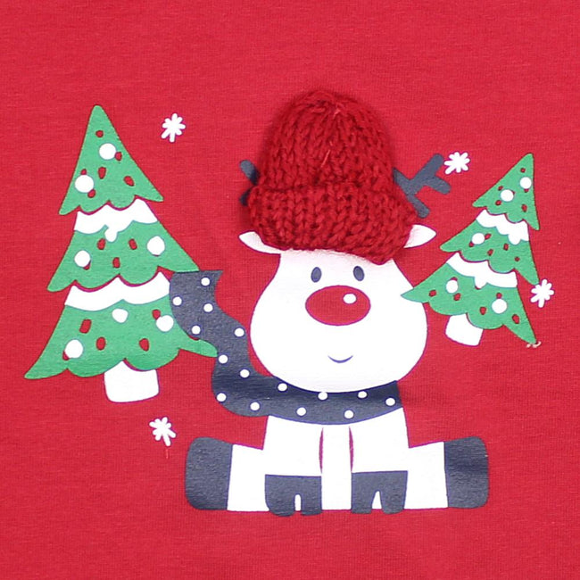 NAME IT  Baby Girls or Boys Red Long Sleeve Tee with Rudolph.