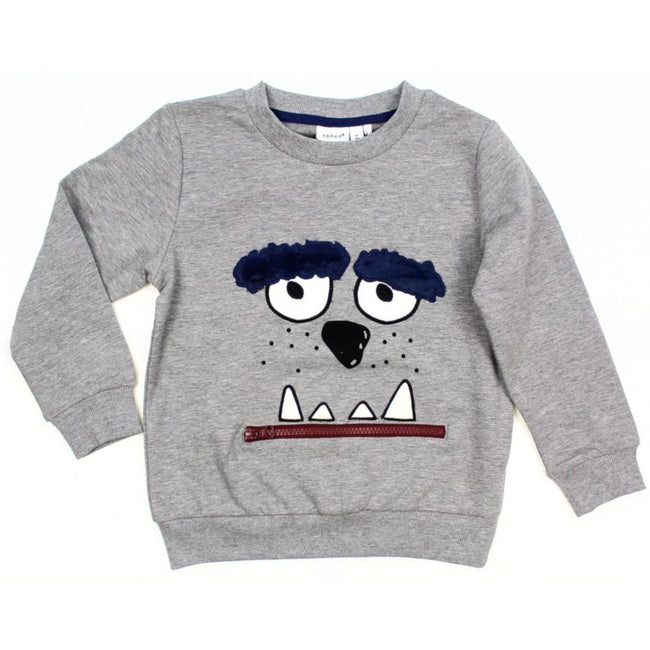 Name It Little Boy Organic Cotton Grey Long Sleeve Sweater