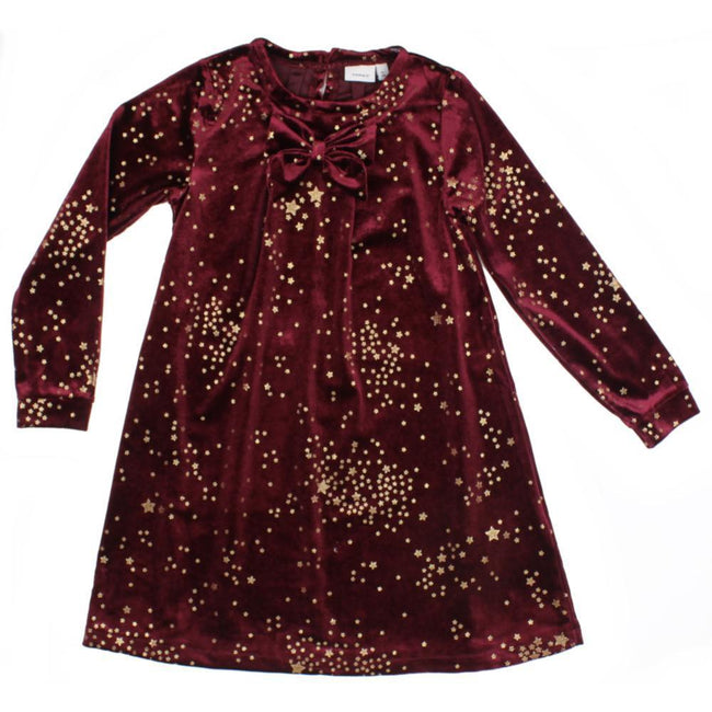 Name It Little Girl Cabernet Velour Dress