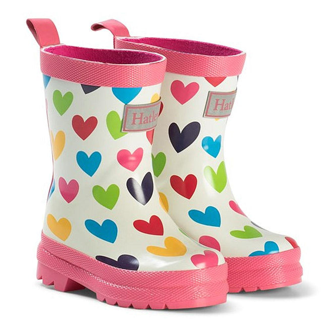 Hatley Kids Little Girl Rainbow Hearts Rain Boot