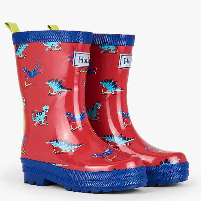 Hately Kids Little Boy Scooting Dinos Rubber Rain Boots