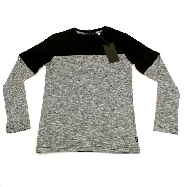 SILVER Jeans Kids Big Boy Grey/Black Two Tone Long Sleeve Top
