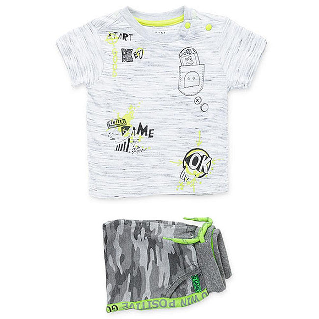 Losan Baby Boy Summer Short Set Camo Lime Green