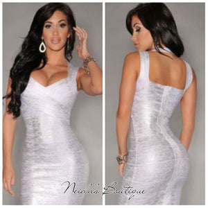 White / Silver Bandage Dress